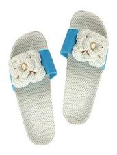 Floral Dotty Blue Flip Flops - ZACHHO