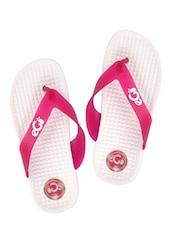 Textured Yellow And Pink Flip Flops - ZACHHO
