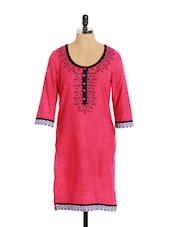 Striking Pink Cotton Kurta With Sequins And Embroidery - Aaboli