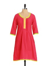 Striking Pink Cotton Kurta With Pink Tucks Neckline - Aaboli
