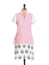 Striped Cotton Kurta With Motif Print At The Bottom - Aaboli