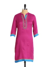 Elegant Pink Cotton Polyester Kurta With Embroidered Neckline - Aaboli
