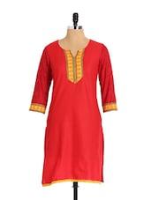 Elegant Bright Red Cotton Kurta - Aaboli