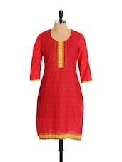 Bright Red Cotton Kurta - Aaboli