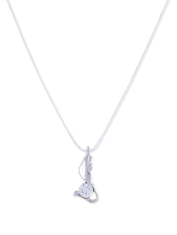 Delicate Diamond Pendant In Silver - DIOVANNI