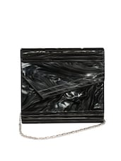 Black And Dirty White Envelope Clutch With An Asymmetrical Flap And A Metal Chain Strap - Reyna