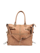 Simple Brown Jute Patterned Tote Bag Which Comes With A Sling - Reyna