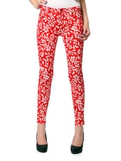 Red And White Floral Print Cotton Lycra Jeans - Glam And Luxe