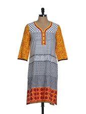 Black And White Printed Cotton Kurta With Yellow Sleeves - ETHNIC