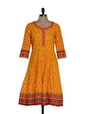 Yellow And Red Printed Kurta With An Embroidered Placket Kurta - ETHNIC