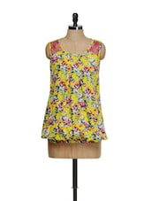 Sleeveless Yellow Floral Top - M Expose