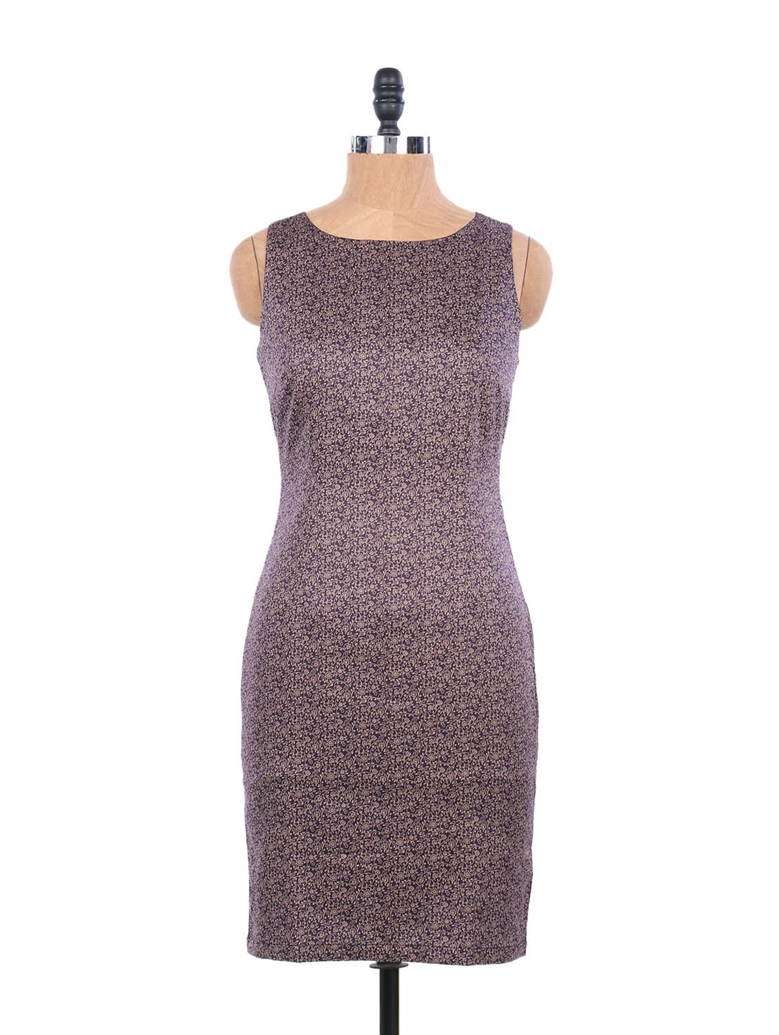 Trendy Purple Printed Dress With A Back Slit - EIGHTEEN27