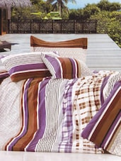 Cotton Twill Abstract Printed Double Fitted Bed Sheet Set - Just Linen
