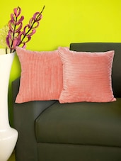 Set Of 2 Striped Baby Pink Fleece Cushion Covers - Just Linen
