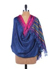 Royal Blue Silk Dupatta With Multi-coloured Striped Border - Dupatta Bazaar