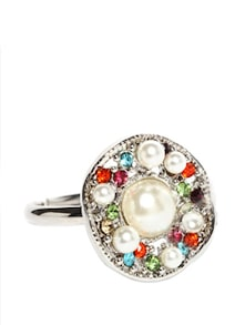 Silver Plated And Multi-coloured Stone Studded Ring - Golden Peacock