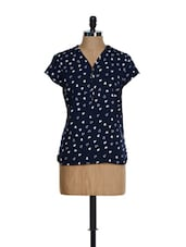Navy Blue Half-sleeved Top With White Heart Prints - KAXIAA
