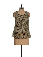 Brown Animal Print Layered Cut-sleeved Top - KAXIAA