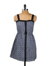Navy Blue Floral Button-down Dress - Thegudlook