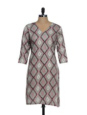 Grey V-neck Full Sleeved Kurta With Brown And Pink Diamond Prints - Overdrive