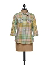 Multi-coloured Checkered Prints Roll-up Sleeved Cotton Shirt - Overdrive