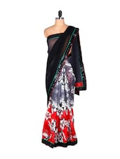 Black And Red Floral Saree - Saraswati