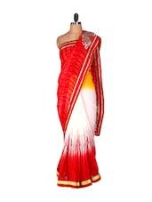 Bright Red Printed Saree - Saraswati