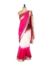Pink And White Saree With Gold Border - Saraswati