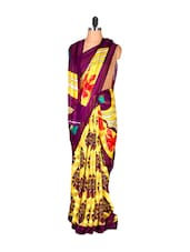 Yellow And Purple Printed Saree - Saraswati
