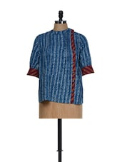 Indigo Blue Block Print Cotton Top With Buttons On The Side - 9rasa