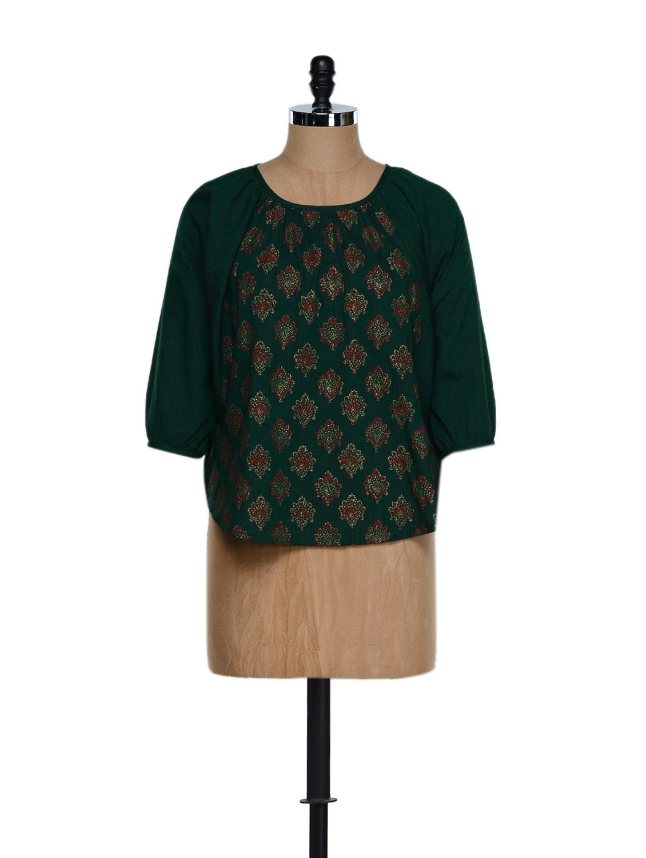 Dark Green Three-quarter Sleeved Traditional Block Printed Cotton Top - 9rasa