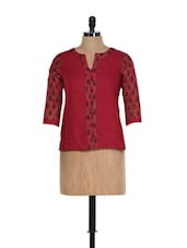 Traditional Maroon Cotton Top With Block Prints - 9rasa