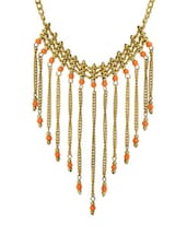 Gold Tassels And Beads Necklace - VR Designers