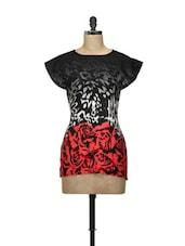 Red And Black Rose Print Top - L'elegantae