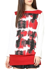 White Full-sleeved Sweatshirt With Red And Black Prints - L'elegantae