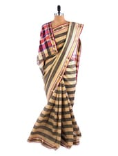 Gorgeous Grey Striped Saree With Blouse Piece - ROOP KASHISH
