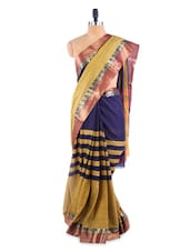 Stunning Yellow And Purple Saree With Blouse Piece - ROOP KASHISH