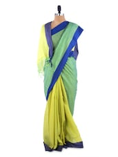 Gorgeous Yellow And Green Colour Blocked Saree With Blouse Piece - ROOP KASHISH
