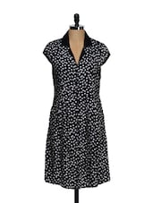 Black And White Polka Dotted Pleated Tunic - Ayaany
