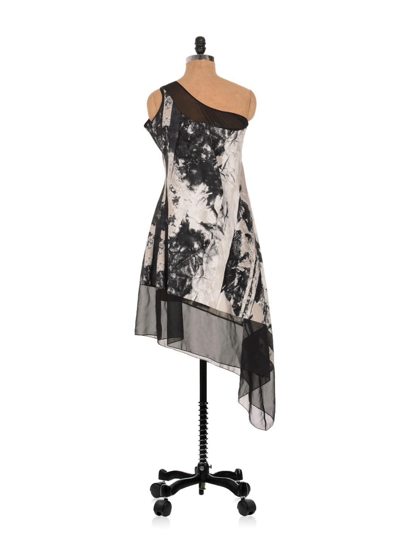 One Shouldered Printed Asymmetrical Dress - Nangalia Ruchira
