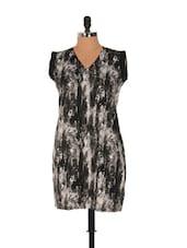 Ghostly Print Black Shift Dress - Nangalia Ruchira