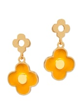 Unique Yellow Flower Shaped Earrings - Maayra