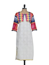 Off-white Cotton Full-sleeved Kurta With A Multi-coloured Embroidered Jacket Style Yoke - STRI