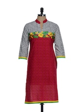 Red Chevron Print Cotton Kurta With Floral Embroidery In The Front And Polka Dotted Sleeves, Neck - STRI
