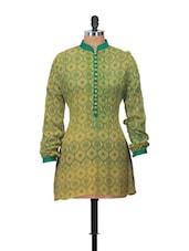 Mandarin Collar Full Sleeve Printed Tunic - Jajv