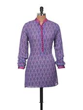 Mandarin Collar Purple Printed Tunic - Jajv