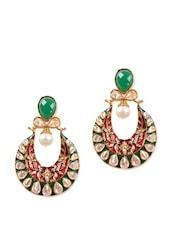 Green And Red Chaandbali Earrings - Rajwada Arts