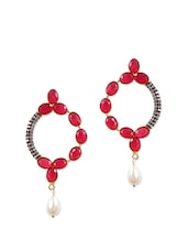 Fancy Earrings With Red Stones And American Diamonds - Rajwada Arts