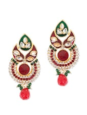 Ethnic Earrings With Red Stone And American Diamonds - Rajwada Arts