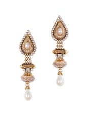 Traditional Gold Earrings With White Stones - Rajwada Arts